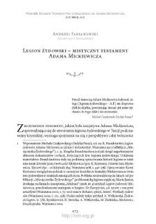 Legion żydowski – mistyczny testament Adama Mickiewicza