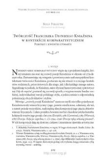 Twórczość Franciszka Dionizego Kniaźnina w kontekście komparatystycznym. Pomysły i kwestie otwarte