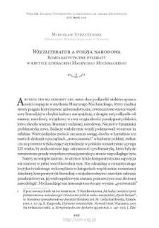"""""""Weltliteratur"""" a poezja narodowa. Komparatystyczne dylematy w krytyce literackiej Maurycego Mochnackiego"""