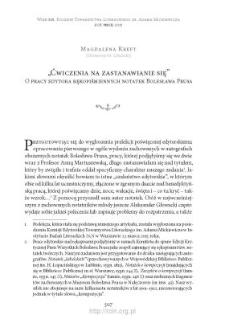 """""""Ćwiczenia na zastanawianie się"""". O pracy edytora rękopiśmiennych notatek Bolesława Prusa"""