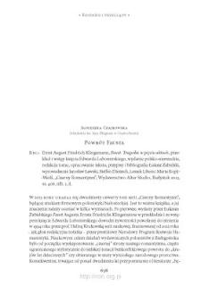 Powrót Fausta. Rec.: Ernst August Friedrich Klingemann, Faust. Tragedia w pięciu aktach, przekład i wstęp księcia Edwarda Lubomirskiego, wydanie polsko-niemieckie, redakcja tomu, opracowanie tekstu, przypisy i bibliografia Łukasz Zabielski...