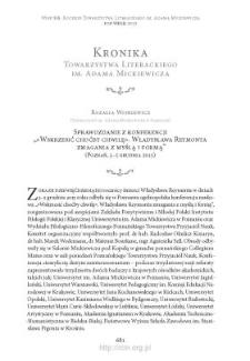 """Sprawozdanie z konferencji """"«Wskrzesić choćby chwilę». Władysława Reymonta zmagania z myślą i formą"""" (Poznań, 3–5 grudnia 2015)"""