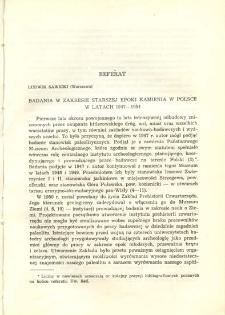 Badania w zakresie starszej epoki kamienia w Polsce w latach 1947-1954