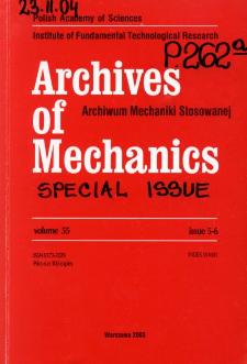 Archives of Mechanics Vol. 55 nr 5-6 (2003)