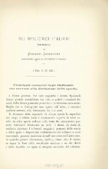 Gli Opilionidi Italiani