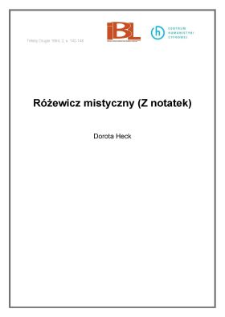 Różewicz mistyczny (Z notatek)