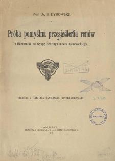 Próba pomyślna przesiedlenia renów z Kamczatki na wyspę Behringa morza Kamczackiego