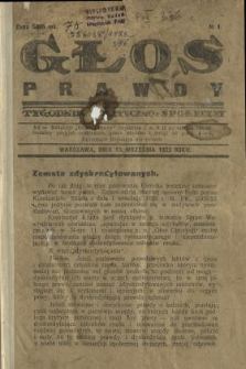 Głos Prawdy 1923 N.1