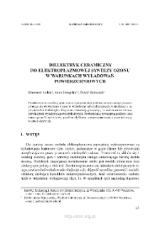 Dielektryk ceramiczny do elektroplazmowej syntezy ozonu w warunkach wyładowań powierzchniowych = Ceramic dielectric for electroplasma ozone synthesis under surface discharge conditions