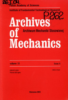 Archives of Mechanics Vol. 55 nr 4 (2003)