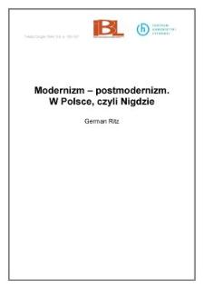 Modernizm - postmodernizm. W Polse, czyli Nigdzie
