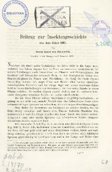 Beitrag zur Insektengeschichte aus dem Jahre 1861