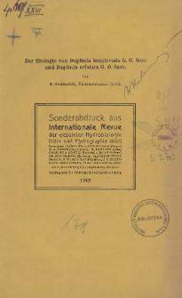 Zur Biologie von Daphnia longiremis G. O. Sars und Daphnia cristata G. O. Sars
