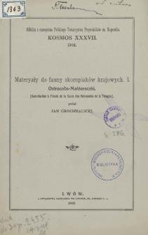 Materyały do fauny skorupiaków krajowych. I. Ostracoda-Małżoraczki = Contribution a l'étude de la faune des Ostracodes de la Pologne