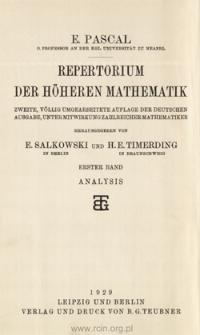 Repertorium der höheren Mathematik. 1. Bd., 3. Teilbd. Analysis