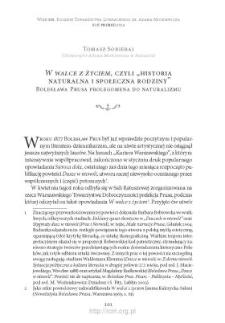 """""""W walce z życiem"""", czyli """"historia naturalna i społeczna rodziny"""" Bolesława Prusa prolegomena do naturalizmu"""
