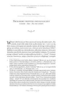 """Prusowski tryptyk ontologiczny (""""Cienie"""" – """"Sen"""" – """"Nic nie ginie!"""")"""