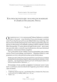 """Kolonialne fantazje i kolonialne koszmary w """"Zemście"""" Bolesława Prusa"""