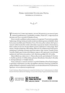 """""""Pisma wszystkie"""" Bolesława Prusa. Informacja wydawnicza"""