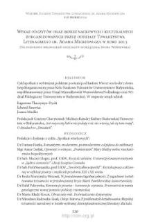 Wykaz odczytów oraz imprez naukowych i kulturalnych zorganizowanych przez oddziały Towarzystwa Literackiego im. Adama Mickiewicza w roku 2013