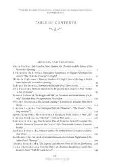 Wiek XIX, Rok VII (XLIX) 2014, Table of contents