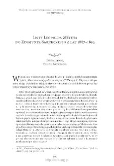 Listy Leopolda Méyeta do Zygmunta Sarneckiego z lat 1887–1892