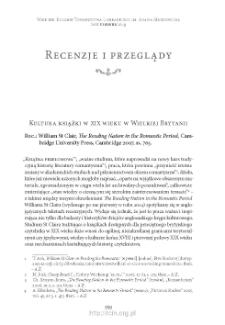 """Kultura książki w XIX wieku w Wielkiej Brytanii. Rec.: William St Clair, """"The Reading Nation in the Romantic Period"""", Cambridge 2007"""