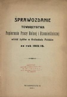 Sprawozdanie Towarzystwa Popierania Pracy Rolnej i Rzemieślniczej wśród Żydów w Królestwie Polskim za Rok 1915/[19]16