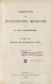 Lehrbuch der analytischen Mechanik. Bd. 1, Mechanik der materiellen Punkte