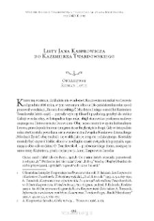 Listy Jana Kasprowicza do Kazimierza Twardowskiego