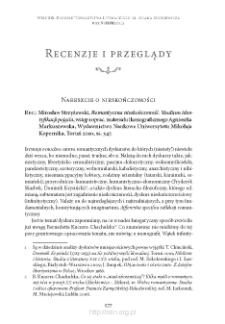 """Nareszcie o nieskończoności. Rec.: Mirosław Strzyżewski, """"Romantyczna nieskończoność. Studium identyfikacji pojęcia"""", Toruń 2010"""