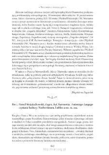 """Paweł Wojciechowski, """"Logos, byt, harmonia. Antoniego Langego czytanie kultury"""", Lublin 2010"""