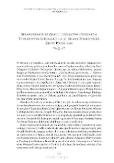 Sprawozdanie ze Zjazdu Delegatów Oddziałów Towarzystwa Literackiego im. Adama Mickiewicza. Złoty Potok 2012