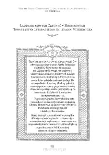 Laudacje nowych Członków Honorowych Towarzystwa Literackiego im. Adama Mickiewicza