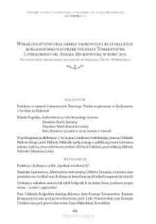 Wykaz odczytów oraz imprez naukowych i kulturalnych zorganizowanych przez oddziały Towarzystwa Literackiego im. Adama Mickiewicza w roku 2011