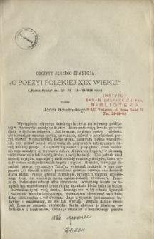 """Odczyty Jerzego Brandesa """"O poezyi polskiej XIX wieku"""" (""""Gazeta Polska"""", nnr. 67-74 i 76-79 1886 roku)"""