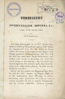 Uebersicht der Zweifluegler (Diptera Ln.) Lief- und Kurlands