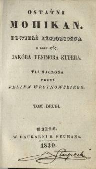 Ostatni Mohikan : powieść historyczna z roku 1757 T. 2