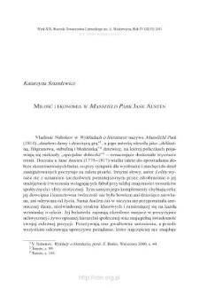 """Miłość i ekonomia w """"Mansfield Park"""" Jane Austen"""