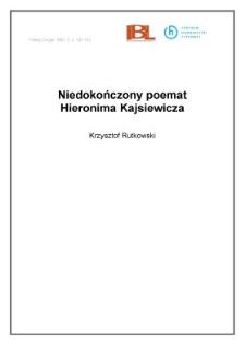 Niedokończony poemat Hieronima Kajsiewicza