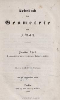 Lehrbuch der Geometrie. 2 Theil, Stereometrie und sphärische Trigonometrie