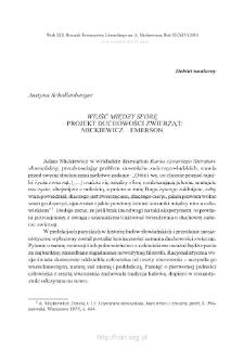 """""""Wejść między sforę"""" – projekt duchowości zwierząt: Mickiewicz – Emerson"""