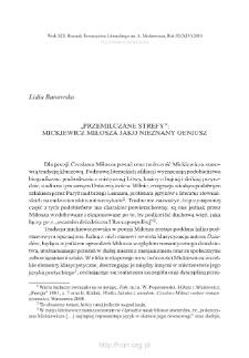 """""""Przemilczane strefy"""": Mickiewicz Miłosza jako nieznany geniusz"""