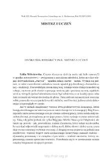 Dyskusja redakcyjna: Mistrz i uczeń