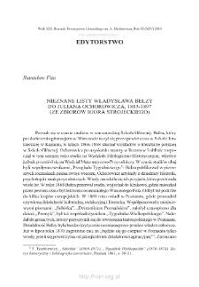 Nieznane listy Władysława Bełzy do Juliana Ochorowicza, 1883–1897. (Ze zbiorów Igora Strojeckiego)