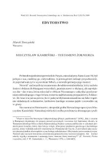 Mieczysław Kamieński – testament żołnierza