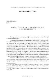 Komparatystyka między Mickiewiczem a dniem dzisiejszym