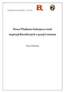 Pisma Władimira Sołowjowa wśród inspiracji filozoficznych w poezji Leśmiana