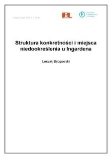 Struktura konkretności i miejsca niedookreślenia u Ingardena