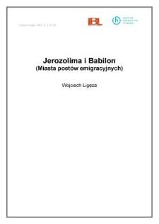 Jerozolima i Babilon (Miasta poetów emigracyjnych)